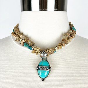Artisan Turquoise Pendant Necklace Sterling 925